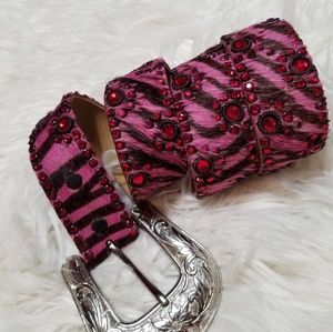 Kippy's Pink Burgundy Zebra Animal Print Belt 34